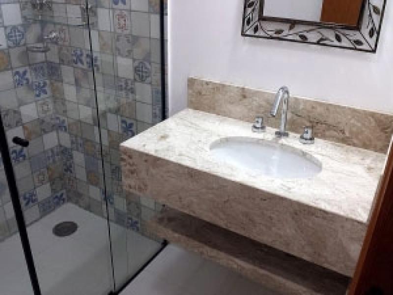Onde Compro Pia de Marmore Banheiro Pequeno Água Branca - Pia de Mármore com Balcão