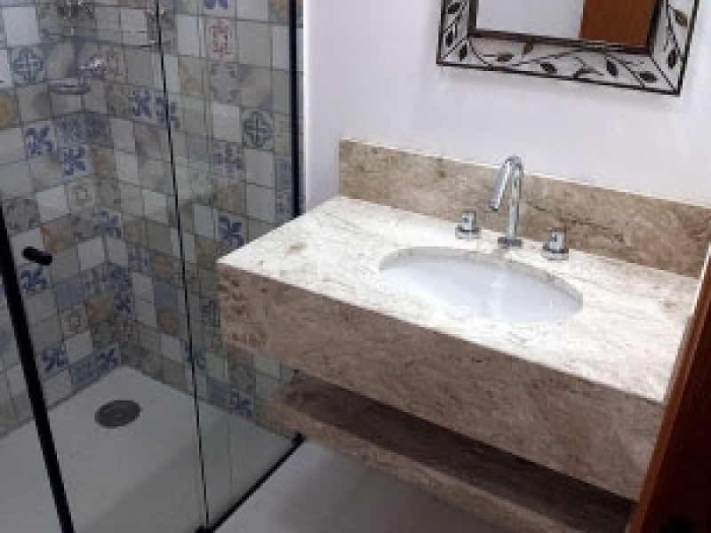 Onde Compro Pia de Marmore Banheiro Pequeno Jurubatuba - Pia de Mármore com Cuba