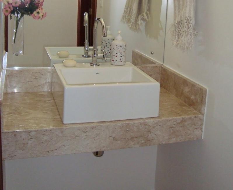 Pia de Marmore Banheiro Pequeno Santa Cecília - Pia de Mármore Branco